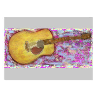 acoustic guitar with yellow patina large business card