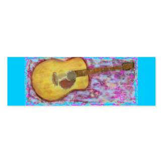 acoustic guitar with yellow patina mini business card