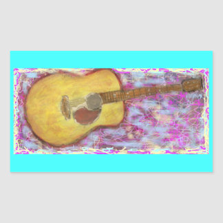 acoustic guitar with yellow patina rectangular sticker