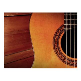 Acoustic Guitar wooden music instrument art Postcard