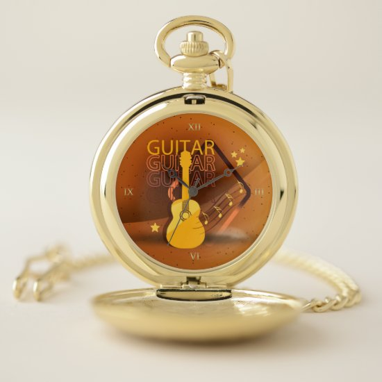 Acoustic Guitar Words and Music Amber ID570 Pocket Watch