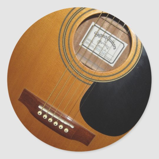 acoustic guitars classic round sticker. Black Bedroom Furniture Sets. Home Design Ideas