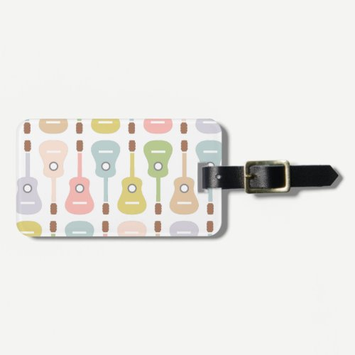 Acoustic Guitars in soft pastel |Musician DJ Band Bag Tag