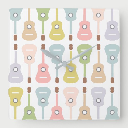 Acoustic Guitars in soft pastel |Musician DJ Band Square Wall Clock