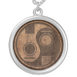 Acoustic Guitars Yin Yang with Wood Grain Effect Round Pendant Necklace