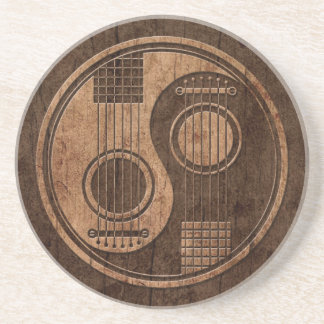Acoustic Guitars Yin Yang with Wood Grain Effect Sandstone Coaster