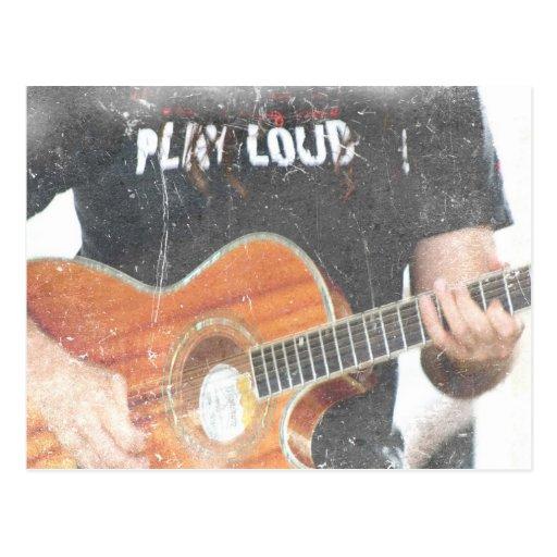 acoustic male guitar player grunge black shirt postcard