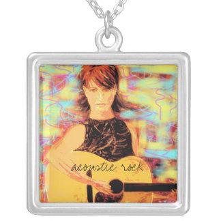 acoustic rock art square pendant necklace