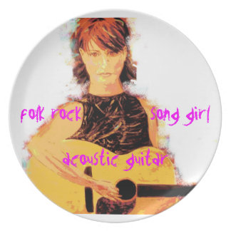 acoustic song girl art dinner plate