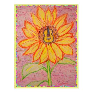 Acoustic Sunflower groovy acoustic Postcard