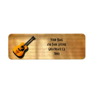 Acoustic Vintage Guitar With Musician Custom Name Label