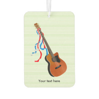 Acoutic Bass Guitar Illustration Car Air Freshener