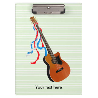 Acoutic Bass Guitar Illustration Clipboard