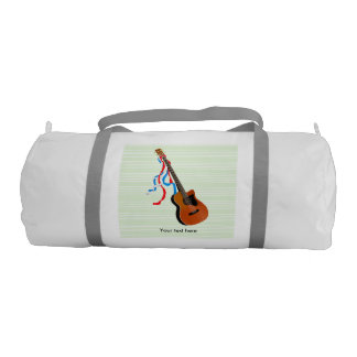 Acoutic Bass Guitar Illustration Duffle Bag