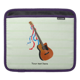 Acoutic Bass Guitar Illustration Sleeve For iPads