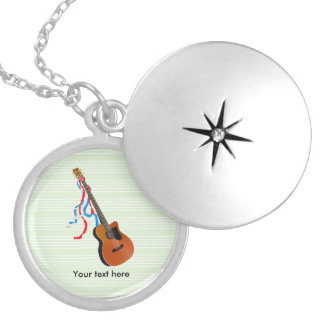 Acoutic Bass Guitar Music Pattern Silver Plated Necklace