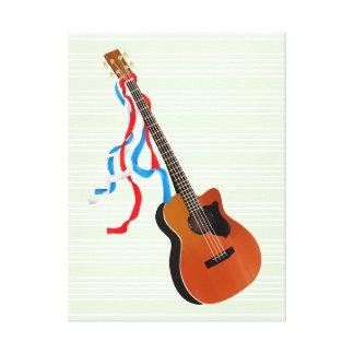Acoutic Bass Guitar Patriotic ribbons Canvas Print