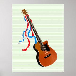 Acoutic Bass Guitar Patriotic ribbons Poster