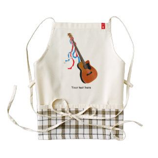 Acoutic Bass Guitar Patriotic ribbons Zazzle HEART Apron