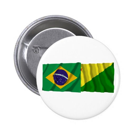 Acre y banderas que agitan del Brasil Pins