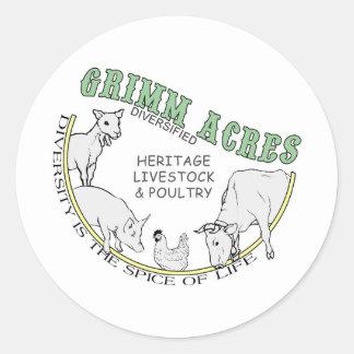 Acres de Grimm, logotipo diversificado Etiquetas Redondas