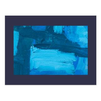 Acrílico azul del expresionista del extracto de la tarjetas postales