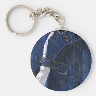 Acrílico de pintura azul del guitarrista de los az llaveros