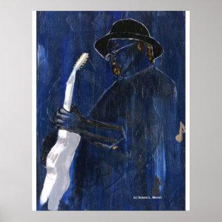 Acrílico de pintura azul del guitarrista de los az póster
