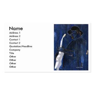 Acrílico de pintura azul del guitarrista de los az tarjeta de visita
