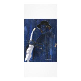 Acrílico de pintura azul del guitarrista de los az tarjeta publicitaria