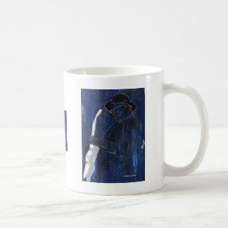 Acrílico de pintura azul del guitarrista de los az tazas
