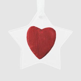 Acrílico estrella ornamento con corazón