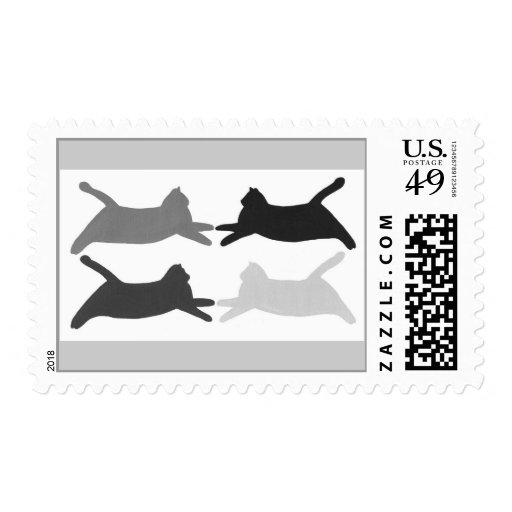 Acrobat Black Gray Cats Silhouette Stamps