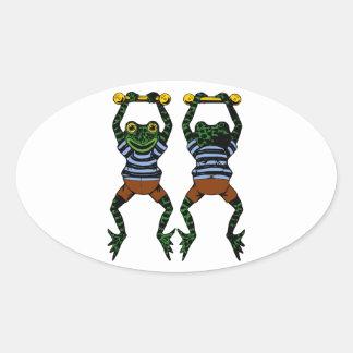 Acrobat Frog Oval Sticker