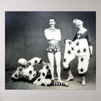 Acróbata e impresión de los payasos póster