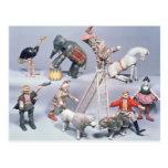 Acróbatas de circo de Humpty Dumpty y casa de Postal