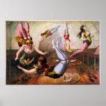 Acróbatas de sexo femenino del trapecio en el circ posters