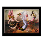 Acróbatas de sexo femenino del trapecio en el circ tarjetas postales