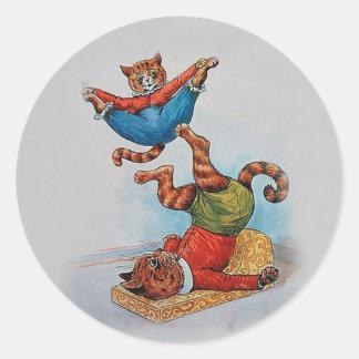 Acróbatas del gato - el arte de Louis Wain Pegatina Redonda