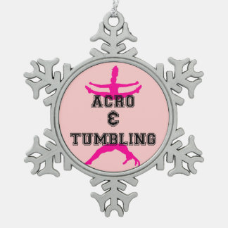 Acrobatics and Tumbling Snowflake Pewter Christmas Ornament