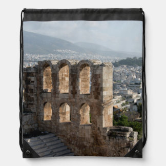 Acropolis Ancient ruins overlooking Athens Drawstring Backpack