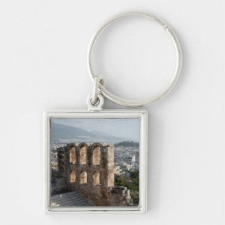 Acropolis Ancient ruins overlooking Athens Silver-Colored Square Keychain
