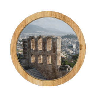 Acropolis Ancient ruins overlooking Athens Round Cheese Board