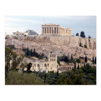 acrópolis antigua de la visión postal