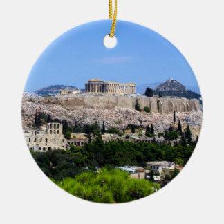 Acrópolis - Atenas Adorno Navideño Redondo De Cerámica