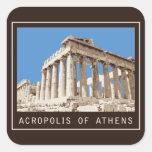 Acrópolis de Atenas Pegatinas Cuadradases Personalizadas