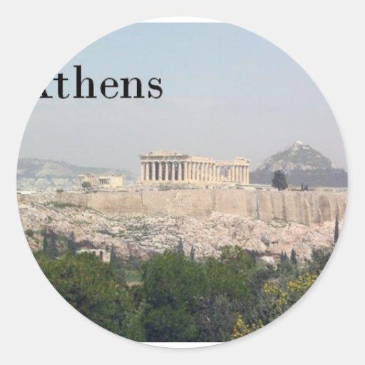 Acrópolis de Grecia Atenas Etiqueta Redonda
