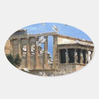 Acropolis Erechtheum Athens Greece Oval Sticker