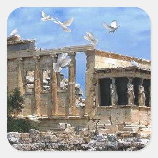 Acropolis Erechtheum Athens Greece Square Sticker