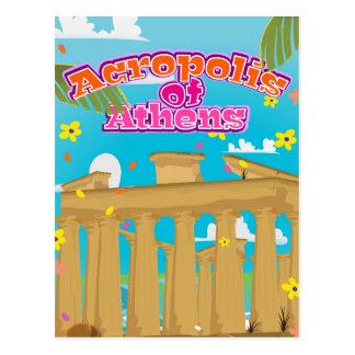 Acropolis of Athens Greece travel poster. Postcard